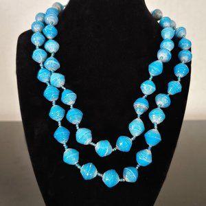 "39"" Blue Bead Necklace w/Barrel Clasp - JNBL1"